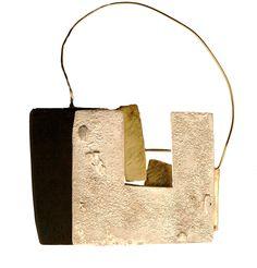 "SUSANNA BALDACCI - ITALY""rifugio"" spilla - argento, oro, ebano, acciaio."