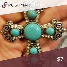 Turquoise Studded Cross Long Necklace Gorgeous Turquoise Studded Cross long necklace. Never worn, purchases about a year ago! Looks great with fall outfits Jewelry Necklaces