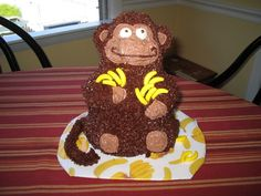 I used the Wilton stand-up bear pan, but cut the ears off and shaved down the muzzle a little.  I created new ears out of Nilla Wafers and re-positioned them further down the head.  Cake is banana pound cake with chocolate frosting.