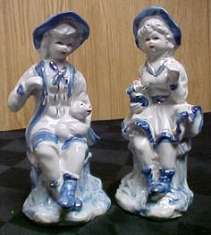 Blue White Porcelain Victorian Style Boy Figurines Ebay Salt Pepper Shakers And