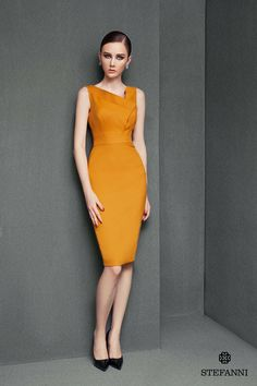 Design and made by Stefanni Love - Viet Nam Fs Add flare to the hem Simple Dresses, Elegant Dresses, Casual Dresses, Fashion Dresses, Dresses For Work, Corporate Attire, Pencil Dress, Mode Style, Classy Outfits