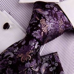 Amazon.com: Purple Tie For Men Wedding Tie For Men Indigo Patterned Woven Silk Neckie Handkerchiefs Cufflinks Gift Box Set Y Business Tie Set H7031: Clothing