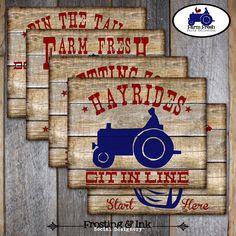 Farm Party - Barnyard Birthday Party - Activity Signs - Game Signs - Printable (Farm Animal, Tractor, Vintage). $10.00, via Etsy.
