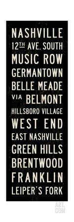 Nashville Transit Sign Giclee Print by Michael Jon Watt at Art.com