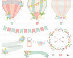 Hot air balloons clip art: Hot Air Balloon Clipart by MashaStudio