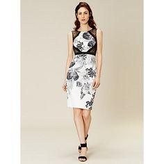 Buy Karen Millen Floral-Print Pencil Dress, Black/White Online at johnlewis.com
