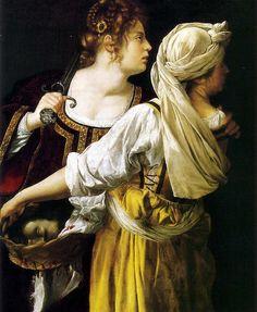 Artista: Artemisia Gentileschi (1593–1653)  Título: Judith and her maidservant  Data :cerca de 1612-1613  Técnica: Óleo sobre tela  Dimensões:114 × 93.5 cm  Localização actual: Palácio Pitti