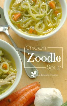 Chicken Zoodle (zucchini noodle) Soup- For S meal, cut back to 1 carrot for soup. Zoodle Recipes, Spiralizer Recipes, Paleo Recipes, Low Carb Recipes, Real Food Recipes, Soup Recipes, Chicken Recipes, Dinner Recipes, Cooking Recipes