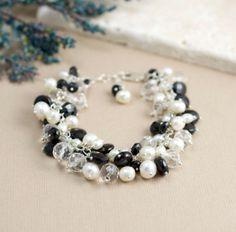 Pulseras de piedras preciosas negro con pulsera de por BlueRoomGems, $162.00
