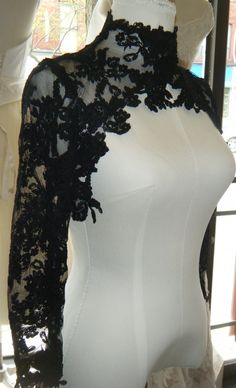 I WONDER IF I COULD RECREATE THIS...[Couture lace bolero  High Fashion Black lace by icoutureicouture, $190.00]