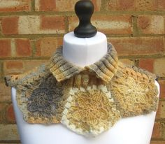 Tan Neck Warmer, Ombre Knit Collar, Crochet Cowl Turtleneck, Pentagon Cowl £25.00