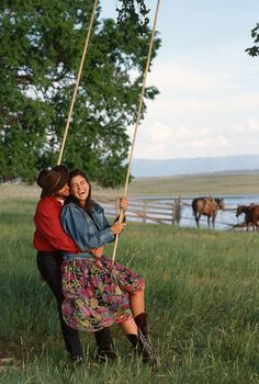 On the Rope Swing::Playing is Always romantic! Country Bumpkin, Country Charm, Country Life, Country Girls, Country Living, Down On The Farm, Camping, The Ranch, Simple Pleasures