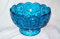*FENTON ART GLASS ~ Blue Footed Pedestal Bowl Dish Moon & Stars Pattern