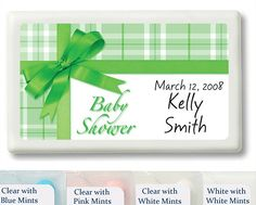 Green Gift Wrap Baby Shower Personalized Mint Favors
