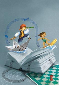 Navigating between reading / Navegando entre la lectura (ilustración de Eugénie Varone)