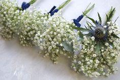 Gypsophila buttonholes - Laurel Weddings - www.laurelweddings.com