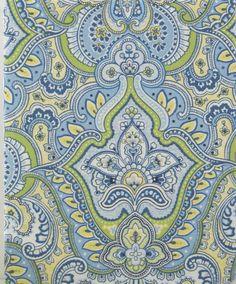 Amazon.com - Laura Ashley Maiden Lane Blue, Green, Yellow, & White Paisley Fabric Shower Curtain -