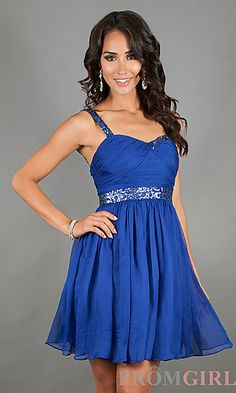 Blue Short Semi-Formal Dress at PromGirl.com