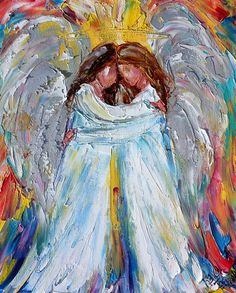 Angel Hugs painting original oil abstract impressionism fine