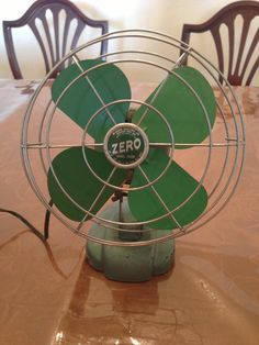 Vintage Green Zero Model 1250 Electric Fan by VintageDreamn