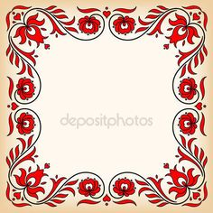 Vintage Frame With Traditional Hungarian Floral Motives Stock Vector - Illustration of frame, transylvania: 55331261 Chain Stitch Embroidery, Cross Stitch Fabric, Learn Embroidery, Embroidery Thread, Embroidery Patterns, Hungarian Embroidery, Vintage Embroidery, Floral Embroidery, Stitch Head