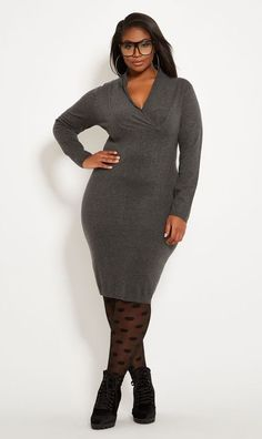 454822f0701 Gray Plus Size Long Sleeve Sweater Cocktail Dress - Gray surplice top sweater  dress plus size