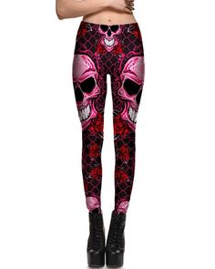 7962e5bf41515 Skulls Flowers In Fishnet Printed Scary Halloween Leggings Red Black