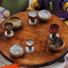 tiny tea set made from acorns