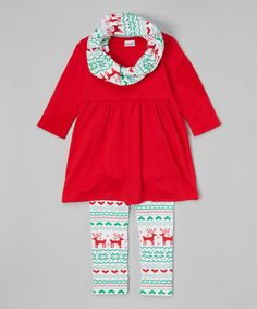 Love this Red Christmas Tunic & Leggings Set - Infant, Toddler & Girls on #zulily! #zulilyfinds