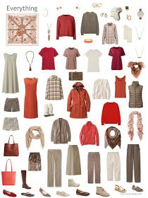 capsule wardrobe in shdes of beige and brown with red and orange accents