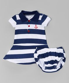 Another great find on #zulily! Navy Stripe Polo Dress & Bloomers by Wan-A-Beez #zulilyfinds