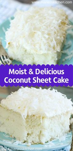 Easy & Delicious Coconut Sheet Cake Recipe - Maria's Kitchen - Easy & Delicious Coconut Sheet Cake Recipe – Maria's Kitchen Sheet Cake Recipes, Easy Cake Recipes, Recipe Sheet, Easy Cakes To Bake, Coconut Recipes Easy, Easy Delicious Desserts, Dessert Simple, Mini Cakes, Cupcake Cakes