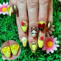 Beauty and the Beast themed nail art! www.kawaiiklaws.com Beauty And The Beast, Nail Art, Kawaii, Nails, Finger Nails, Ongles, Nail Arts, Nail Art Designs, Nail