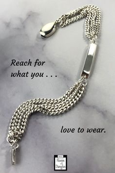 """Slender bracelet is made of 3 strands of curb chain with a carved silver bar and a box/safety clasp. These handmade chain bracelets fall gracefully around the wrist and hand in sterling silver. SIZE: 6 1/2"""" length is currently in stock. May also be ordered in 6"""", 7"""", 7.5"""", 8"""" and 8.5"""" lengths; Bracelet total chain width: 1/4"""" and Bar width is 4 millimeters. Handmade Bracelets, Handmade Jewelry, Jewelry Accessories, Women Jewelry, Silver Bars, Sterling Silver Bracelets, Chain Bracelets, Dangle Earrings, Strands"""
