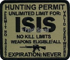 Patch Squad Men's ISIS Hunting Permit Military Patch
