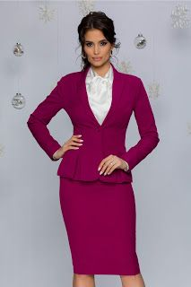 Compleu MBG magenta Jacket Dress, Peplum Dress, Office Outfits For Ladies, Well Dressed, Business Women, Magenta, Photoshoot, Costume, Lady