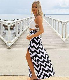 $7.10 Summer Beach Casual Women Wavy Stripe High Waist Casual Split Long Skirt