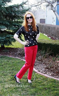 JCrew sequin polka dot sweater, spring layers, hot pink pants. Obsessed.