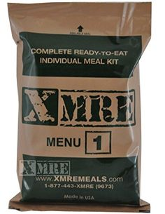 XMRE Meals 1300XT Single Meal (Meal Ready to Eat Military Type) (Menu May Vary) XMRE http://www.amazon.com/dp/B00MH7QVQQ/ref=cm_sw_r_pi_dp_Kc2Dub0TT53V5