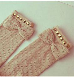 knee high studded bow socks