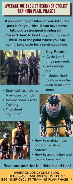 Phase 1 of a beginner cyclist training plan that is suitable for new cyclists, based on principles of rest, moderation, and consistency. Cycling For Beginners, Cycling Tips, Cycling Workout, Women's Cycling, Cycling Quotes, Cycling Jerseys, Training Plan, Training Programs, Cross Training