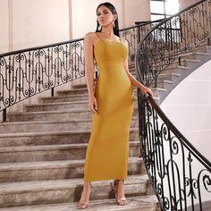 Mustard Maxi Bodycon Dress With Split Hem – Divas Fashions Diva Fashion, Fashion 2020, Sexy Dresses, Beautiful Dresses, Nice Dresses, Bodycon Dress Parties, Party Dresses, Spaghetti Strap Dresses, Clothes For Women