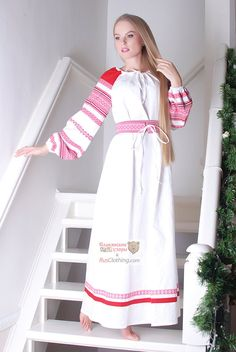 White linen dress Russian costume National by RussianClothing