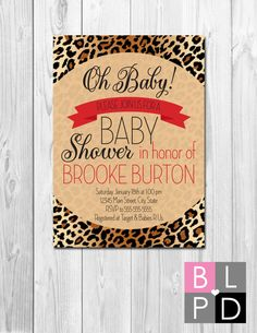 Oh Baby Animal Print Baby Shower Invitation - Brown Cheetah Leopard Print with Red Accents - DIY - Printable
