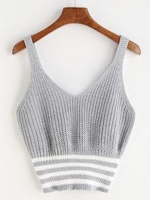 Shop Marled Knit Double V Neck Striped Hem Tank Top online. SheIn offers Marled Knit Double V Neck Striped Hem Tank Top & more to fit your fashionable needs. Crop Top Und Shorts, Crop Top Outfits, Trendy Outfits, Cropped Tops, Pull Crochet, Crochet Top, Crop Top Et Short, Knitted Tank Top, Cami Tops