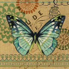 Burlap Butterfly 1 by Jennifer Brinley | Ruth Levison Design