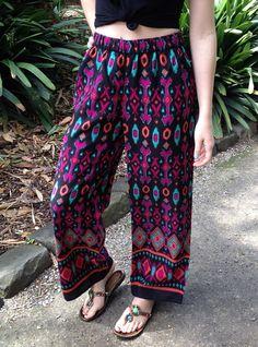 Gypsy Soul Handmade tribal print wide leg lounge pants holiday resort wear