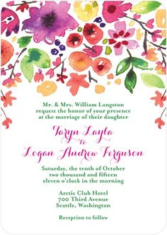 Bright floral illustrations make this a wonderful spring or summer wedding invitation. Custom color options allow this invitation to be designed for a fall or winter color scheme.