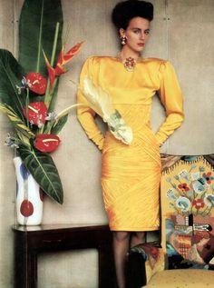 Sheila Metzner in Emanuel Ungaro for Vogue US, April 1985