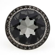 Large Round Cut Black Crystal Ring #InspiredSilver #Sale #Jewelry #WhitenBlack